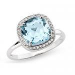 Best Blue Topaz and Diamond 14K White Gold Ring wholesale