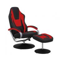 Best Black & Red Vinyl Recliner Home Office Desk Chair With Ottoman / Adjustable Computer Chair wholesale