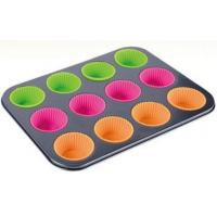 Best China Supplier heavy carbon steel bakeware 230C Heat-resistant baking tin with silicone cups muffin pan wholesale