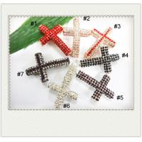 Cheap Sideway Crystal Pave Cross Charms 27 * 40mmWith Customized Color / Shape / Size for sale