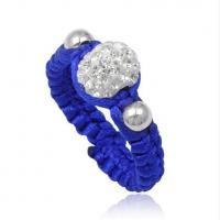 Cheap Handmade Jewelry Beaded Dark Blue Shamballa Rings With Crystal, Clay Material for sale