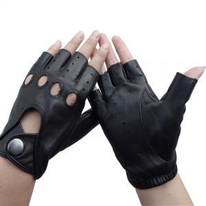 Best Sheepskin Mens Fingerless Driving Gloves , Fingerless Leather Gloves Customized Size wholesale