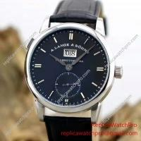 Best A. Lange & Sohne Watch 1815 Date Black Face with Black Leather Strap Watchcopy wholesale