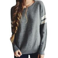 Best Trendy Crew Neck Long Sleeve Sweater , Knit Strips Boyfriend Pullover Sweaters wholesale