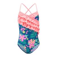 Best Floral Prints Pink Ruffles Little Girl Swimsuits , Spaghetti Strap Swimsuit Summer Design wholesale