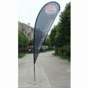 China Teardrop flag banner with digital printing, aluminum/fiberglass flag pole on sale