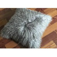 Cheap 18 Inches Long Sheep Fur Decorative Pillows , Mongolian Fur Outdoor Throw Pillows  for sale