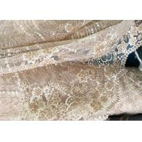 Best Champagne Gorgeous Flowers Sequin Lace Fabric With Dot Scalloped For Party Gown wholesale
