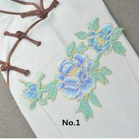 Best Custom Colorful Embroidered Tulip Floral Applique Patches Self Adhesive 22.5 CM X 16 CM wholesale