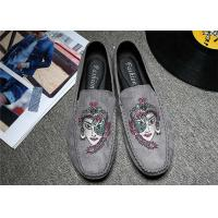 Best Embroidered Loafers Leisure Comfort Driving Custom Logo Gray Black Crushed wholesale