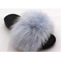 Cheap Long Hair Fluffy Fox House Slippers Rubber Sole Soft Comfortable For Women for sale