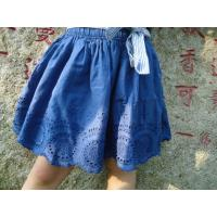 Best Blue Embroidery Cotton Little Girls Denim Skirt , Eyelet Girls Summer Skirts With Bow wholesale