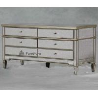 China US Style Mirrored Drawer Chest, Gold Trimming Mirrored Glass Chest Of Drawers on sale
