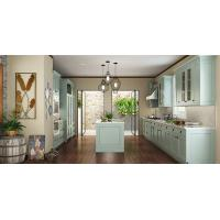 Villa Fashion Style Green Color Pvc Kitchen Furniture U - Shape With Island Bench