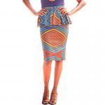 Best Summer Dashiki Batik African Print Skirts High Waist Pencil Knee Length Pure Cotton wholesale