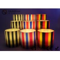 Best Colorful Flameless Led Candles With Stripes Flat Top Candles ST0011 wholesale
