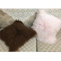 Best 20 Inch Square White Fuzzy Pillow Cover , Soft Mongolian Fur Lumbar Pillow  wholesale