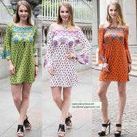 Best sexy printed flower short dress for women in long flounce sleeve with off the shoulder wholesale