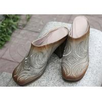 Best Durable Cowhide Leather Clog Heels , Thick High Heel Women'S Clog Shoes wholesale