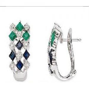 Best 14K White Gold Earrings Sapphire, Emerald and Diamond earring wholesale