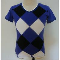 Best Summer Checked Panels Mens Polo T Shirts Short Sleeve V Neck T Shirts 95% Cotton 5% Spandex wholesale