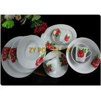 China 20 Piece Roses Cover Dining Plate Sets , Round Dinner Sets  With Cups And Tea Pot Custom Logo on sale