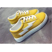 Best Fashionable Females Canvas Sneakers Shoes For Student Yellow White Black Color wholesale