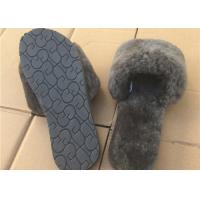 Cheap Pink / Gray Ladies Open Toe Sheepskin Slippers With Soft Rubber Sole for sale