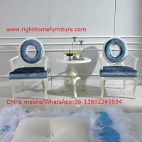 Best Leisure fabric with white painting solid wood chair in Neoclassical design and cocktail end table wholesale