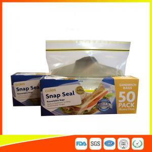 Best Ziplock Plastic Sandwich Bags With Writable Panel , Zipper Food Storage Bags 18 * 17cm wholesale