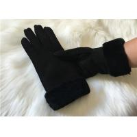 Best Ladies Black Shearling Lambskin winter Gloves double face sheepskin leather glove wholesale