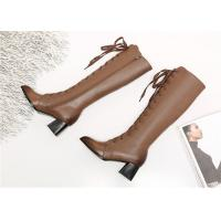 Best Pointed Toe Womens Knee High Lace Up Boots , Soft Leather Knee High Heel Boots wholesale