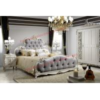 Best Luxury Upholstery Fabric Headboard Padding with Solid Wood Bed in Ivory White Painting wholesale