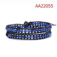 Cheap Two Layer Multicolor Stone Beads Bracelet, Custom Leather Bracelets For Couples for sale