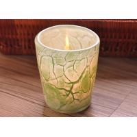 Best Create modern glass candle holders green leaf pattern , 280ml Capacity wholesale