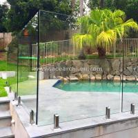 Cheap Glass Pool Fence with Certificates / Baby Pool Fence Glass Railing Outdoor Frameless Railing for sale