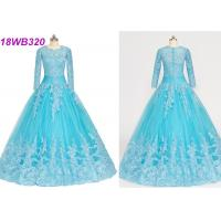 Best Muslim Style Blue Multi Colored Wedding Gowns With Lace Long Sleeves Zipper Back wholesale