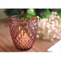Best Diamond Votive Handmade Glass Candle Holders , Glass Candle Jars Spraying Color Finish wholesale