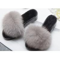 Best Light Grey Genuine Fur Furry House Slippers Soft For Indoor / Ourdoor wholesale