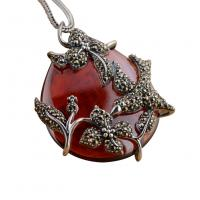 China Sterling Silver Vintage Red Agate Marcasite Charm Pendant Necklace (N808070) on sale