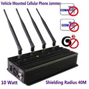 Best Vehicle Mounted Desktop 4 Antenna Mobile Phone 3G GSM CDMA Jammer W/ 10 Watt & 40M Range wholesale