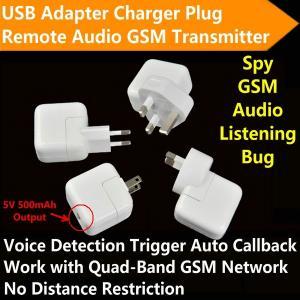 Best Mini AC Adapter Charger US/EU Plug Hidden Spy GSM SIM Remote Audio Transmitter Listening Ear Bug W/ 5V USB Output wholesale