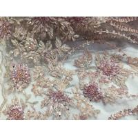Best 47 Inch Pink Embroidered Heavy Beaded Lace Fabric By The Yard With Scalloped Edge wholesale
