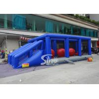 Best Outdoor double lane adults interactive inflatable assault course with big bouncing balls wholesale