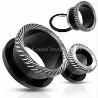 China Black 316L Surgical Stainless Steel Anodized Screw Ear Flesh Tunnels, Plug, Earlets For Gift on sale