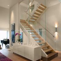 Cheap Customized Straight Open Riser Double Stringers l Shape Wood Tread Straight Staircase for sale