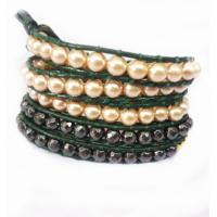 Best 82cm 5 rows Pearl beads Leather Wrap Bracelet / Semi Precious Beads Bracelet Wholesale wholesale