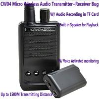 Best CW04 Mini Wireless Remote Audio Transmitter Receiver Spy Bug W/ Voice Recording in TF Card wholesale
