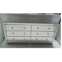 6 Drawers Big Mirrored Cabinet Chest in Mirror Furniture Set