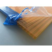 Cheap Orange Double Wall Polycarbonate Panels , Polycarbonate Hollow Sheet UV Resistant for sale